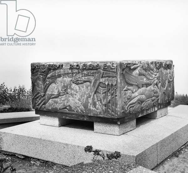 Tomb of the musician Albert Roussel (1869-1937) Varengeville (b&w photo)