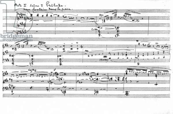 "Manuscript of the Prelude to Act II, Scene I from ""Pelléas et Mélisande"", 1902 (pen & ink on paper)"