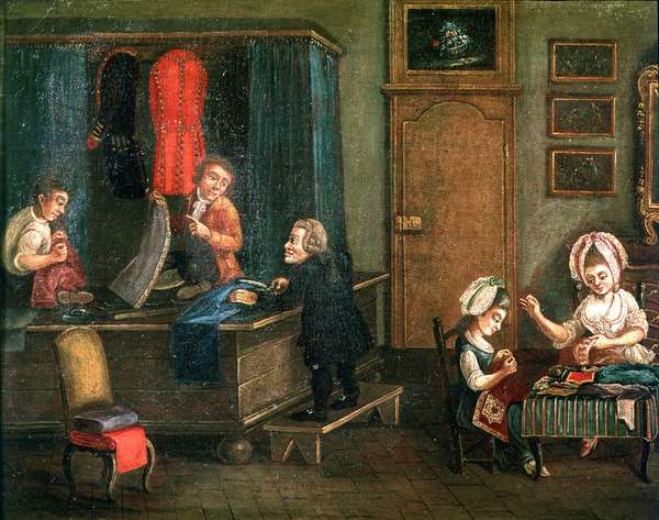 The Tailor's Shop (oil on canvas)