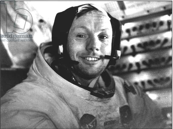 Neil Armstrong (b.1930) on 20th July 1969 (b/w photo)
