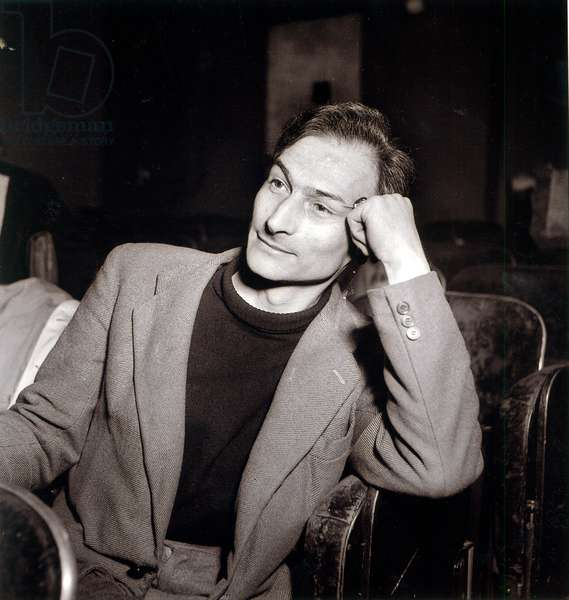 Balthus (1908-2001) at the Theatre des Noctambules, Paris, April 1953 (b/w photo)