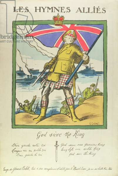 """Hymns of our Allies, the British Hymn """"God Save the King""""', pub. in 'Le Nouvel Essor', Paris, c.1914-18 (litho)"""
