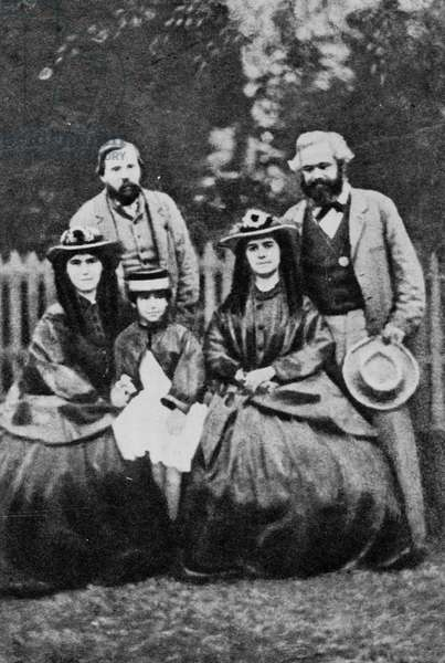 Friedrich Engels and Karl Marx featured with members of the Marx family (b/w photo)