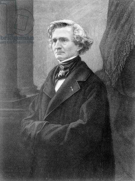 Portrait of Hector Berlioz (1803-69) (engraving) (b/w photo)