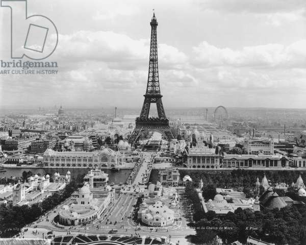Panorama of the Jardins du Trocadero and the Champ-de-Mars, Paris, 1900 (b&w photo)