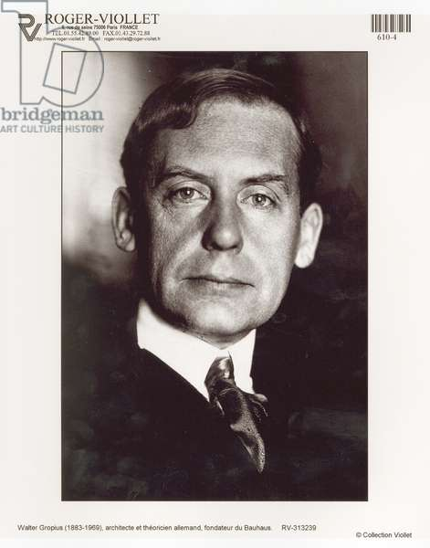 Portrait of Walter Gropius (1883-1969) (b/w photo)