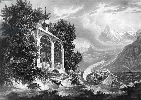 Scene from 'William Tell' by Gioacchino Rossini (1792-1868) (engraving) (b&w photo)