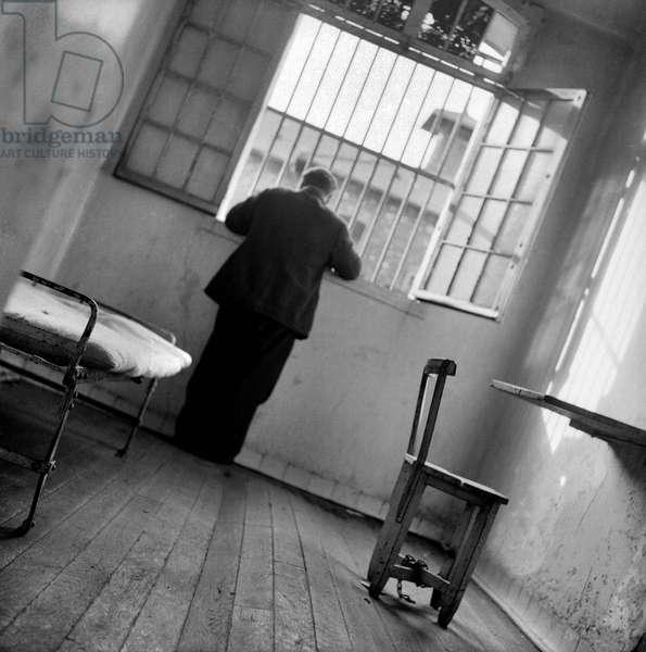 Interior of a cell, Fresnes Prison, 1947 (b/w photo)