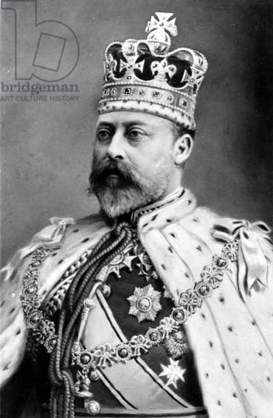 Edward VII, King of England in his coronation robes (b/w photo)