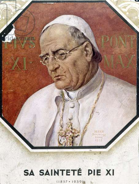 His Holiness Pius XI (1857-1939), painted in Rome in 1937 (colour litho)