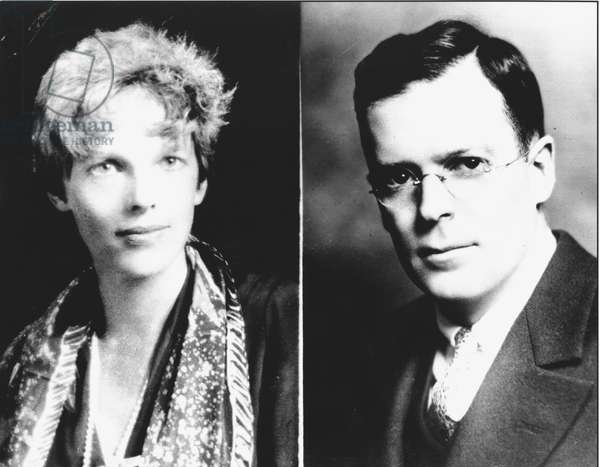Amelia Earhart (1898-1937) and her husband, George Palmer Putnam (1887-1950) 1931 (b/w photo)