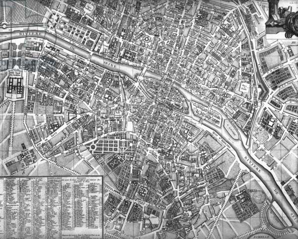 Plan of the City of Paris, early 19th century (engraving) (b&w photo)