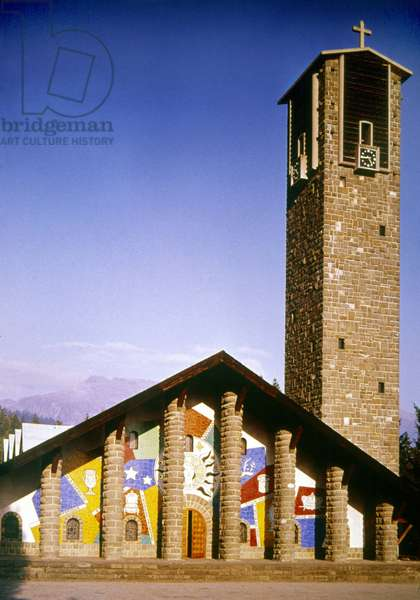 Parish church with murals by Fernand Leger, Georges Rouault, Henri Matisse Jacques Lipchitz and Jean Lurcat, designed by Maurice Novarina (photo)
