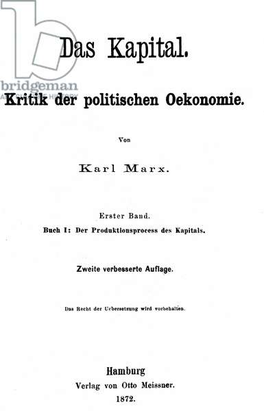 Front Cover of the German Edition of 'Capital' by Karl Marx, 1872 (litho)