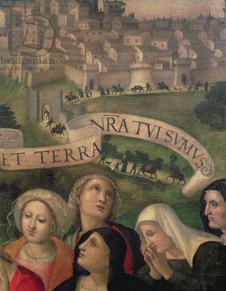 Detail of a votive standard commemorating the end of the plague, showing the plague victims lining the streets of Perugia (oil on panel)