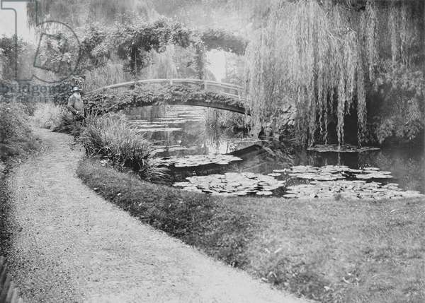 Claude Monet (1840-1926) in his Garden at Giverny (b&w photo)
