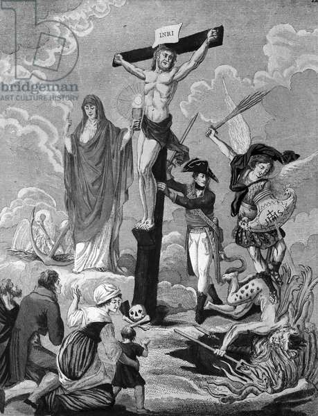 Bonaparte, restorer of religion and supporting the Cross, Allegory on the Concordat, 1802 (engraving)