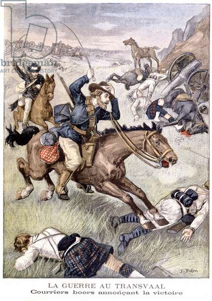 War in the Traansvaal: Boer Couriers announcing the victory, from 'Le Petit Journal', 1899 (litho)