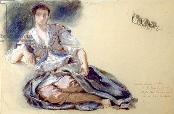 Arab Woman Seated on the Ground (pastel on paper)