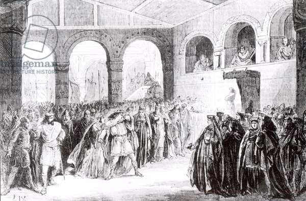 Act I, Scene 2 of 'Macbeth' by Giuseppe Verdi (1813-1901) at the Imperial Lyric Theatre Paris, 21st April 1865 (engraving) (b&w photo)