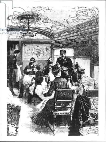 The Restaurant Car on the Orient Express in 1883 (engraving) (b/w photo)
