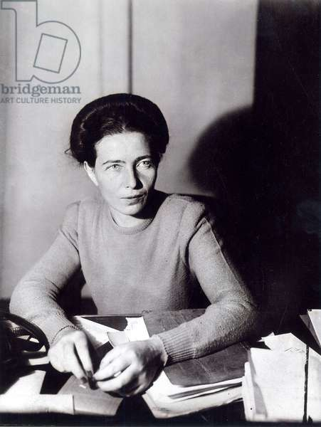 Simone de Beauvoir (1908-1986), 1945 (b/w photo)