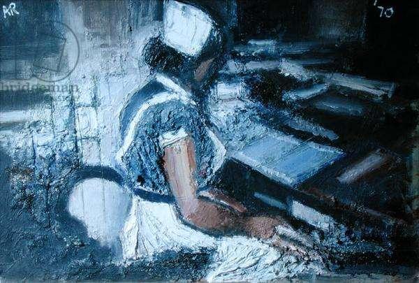 Night Nurse at Desk, 1970 (oil on canvas)