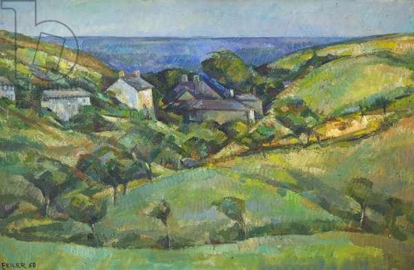 Cornish Landscape, 1950 (oil on canvas)