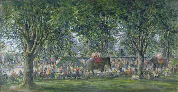 London Zoo, Elephant Work, 1962 (oil on canvas)