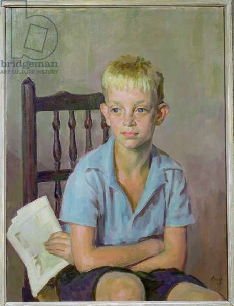 Football Fan, 1950 (oil on canvas)