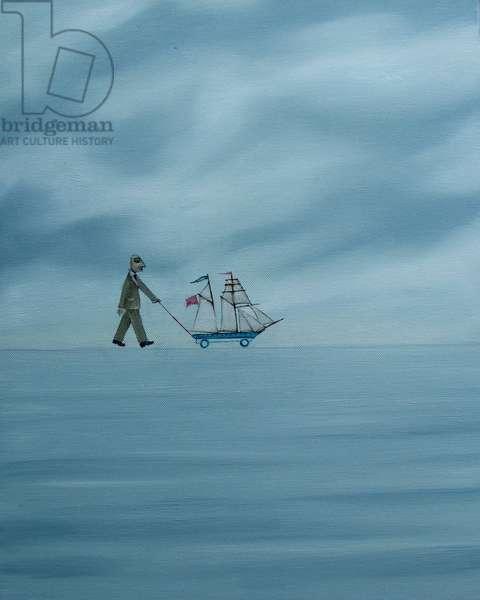 As regular as clockwork he crosses the horizon, 2008 (oil on canvas)