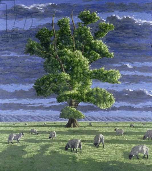 Oak Tree with Sheep, 2004 (oil on board)