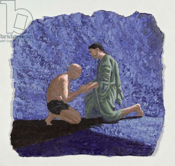 """""""My eyes have seen you,"""" illustration to the Book of Job, 1995 (acrylic on paper)"""