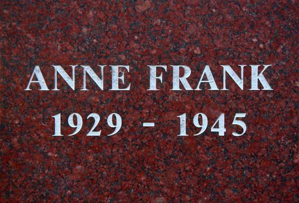 The plinth of the statue of Anne Frank, Merwedeplein, Amsterdam (photo)