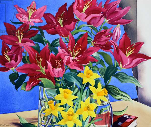 Magenta Lilies and Daffodils (watercolour on paper)