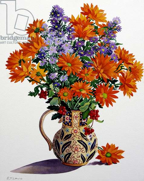 Orange Chrysanthemums (watercolour on paper)