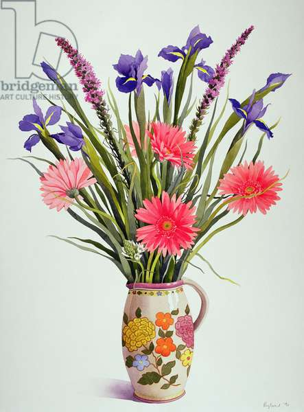 Irises and Gerbera in a Dutch Jug (w/c)
