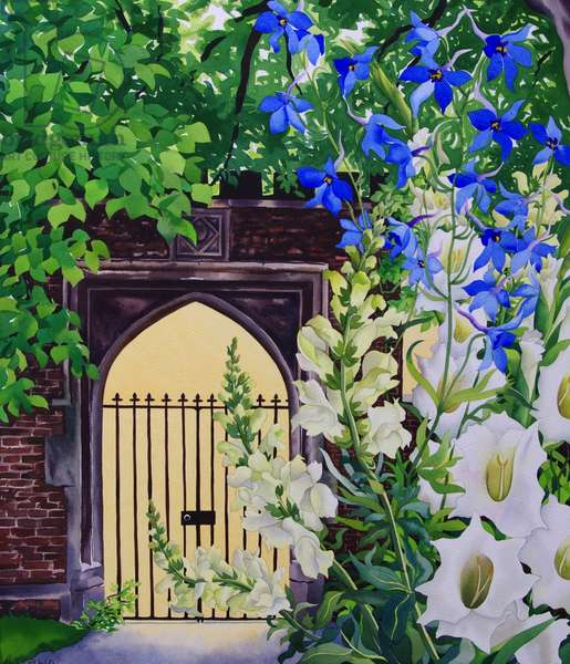 Flowers by a sunlit gateway, 2008 (w/c on paper)