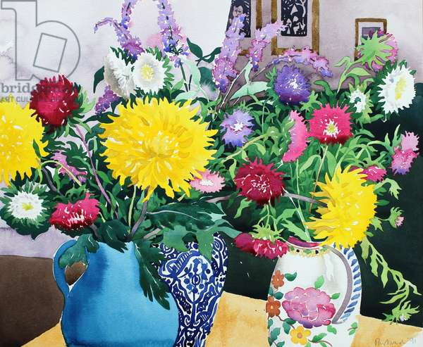 Interior with Asters (watercolour on paper)