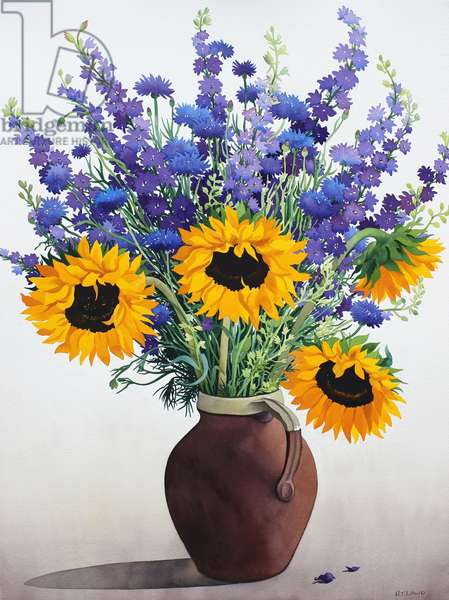Summer Flowers in Brown Jug (watercolour on paper)