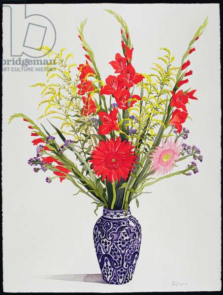 Tiger Lilies, Gladioli and Scabious in a Blue Moroccan Vase (w/c)