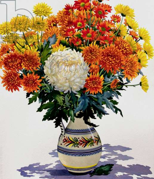 Chrysanthemums in a patterned jug, 2005 (w/c on paper)
