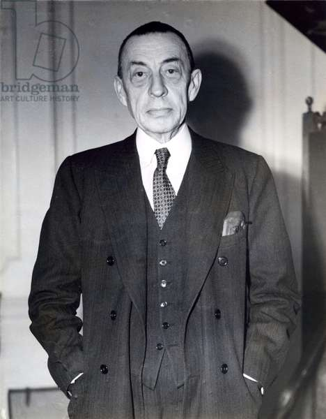 The famous Russian pianist and composer of classical music Sergei Rachmaninoff, London, 20 February 1939 (b/w photo)