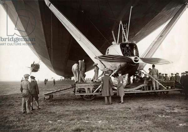 The German airship LZ 127 Graf Zeppelin for the first time with his rear nacelle on a landing wagon on airfield Staaken at Berlin, 13 May 1931 (b/w photo)
