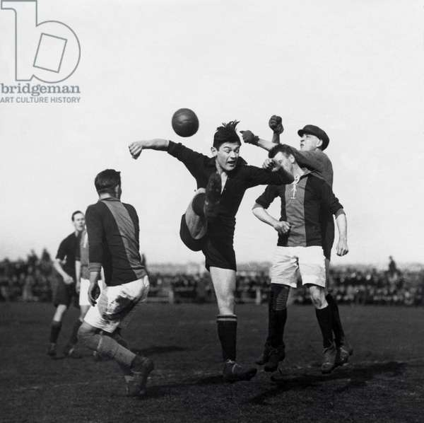 League soccer match for the Dutch championship between HBS and Go Ahead Eagles, The Hague, the Netherlands. March 1925