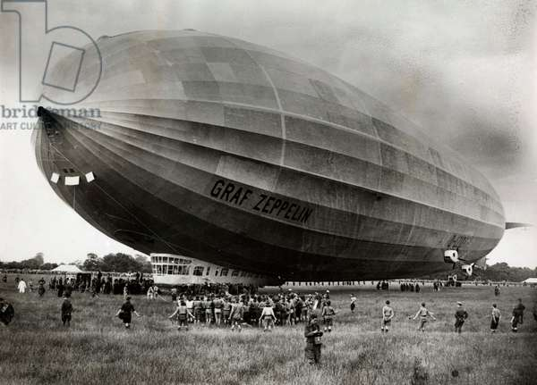 The German airship Graf Zeppelin on the airfield of Hanworth (Middelsex) on the occasion of a 24 hours flight round the British islands, England2 July 1932 (b/w photo)