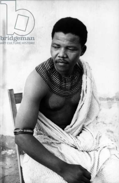 Nelson Mandela as a young man, 1961 (b/w photo)