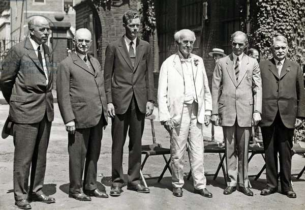 S.W. Stratton, George Eastman, Charles Lindbergh, Thomas Alva Edison, Henry Ford and Dr. Lewis Perry, 1929