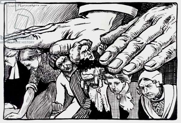 Dutch cartoon criticizing the oppression of women, by Louis Raemakers.