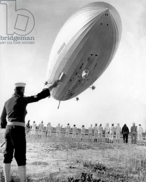 Zeppelin the Hindenburg on arrival at Lakehurst after her second flight from Germany to the United States of America, 20 May 1936 (b/w photo)